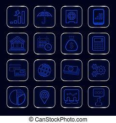 bleu, incandescent, icones affaires