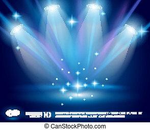 bleu, incandescent, rayons, magie, projecteurs, effet