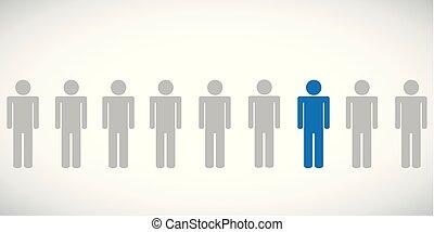 bleu, individaul, pictogramme, personne, autre, entre