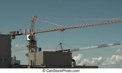 bleu, industry., fonctionnement, ciel, contre, construction, grue tour