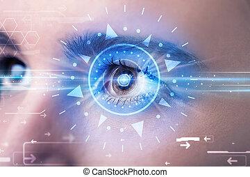bleu, iris, oeil, technolgy, cyber, regarder, girl