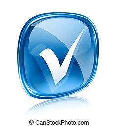 bleu, isolé, arrière-plan., verre, blanc, chèque, icône