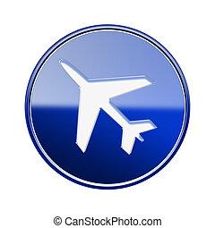 bleu, isolé, lustré, fond, avion, blanc, icône