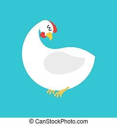 bleu, isolated., blanc, ferme, fond, poulet, poule, oiseau