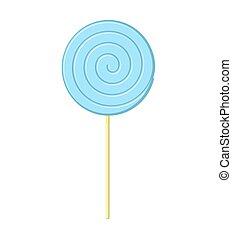 bleu, isolated., bonbon, arrière-plan., crosse, blanc, douceur, sucette