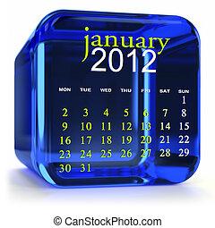 bleu, janvier, calendrier