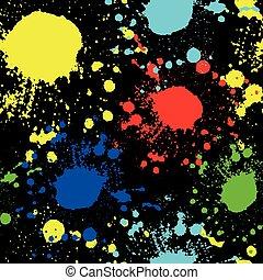 bleu, jaune, seamless, taches, vert, texture, fond, noir, graffiti, rouges