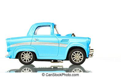 bleu, jouet, lumière, fond, voiture, blanc