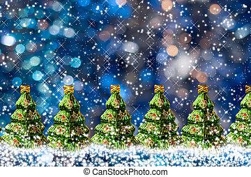bleu, jouet, neige, arbres, verre, bokeh, vert, space., fond, copie, noël, rang
