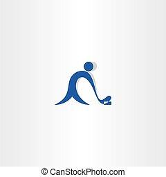 bleu, joueur, vecteur, hockey, logo, icône