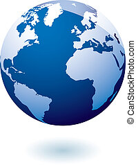 bleu, la terre, icône, gel