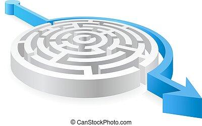 bleu, labyrinthe, avoided, rond