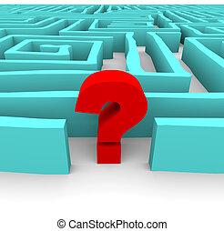 bleu, labyrinthe, point interrogation