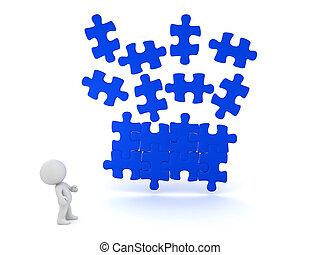bleu, les, puzzle, caractère, illustration, regarder, endroit, tomber, morceau, 3d