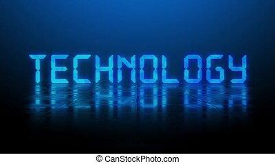 bleu, lettrage, fond, mouvement, enlever, structuré, reflet, sur, effet, éclairé, machine écrire, effets, -, animé, technologie, surface, brouillé