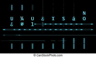 bleu, lettres, écran, lignes, noir, numérique