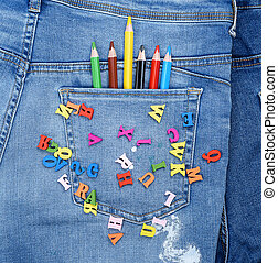 bleu, lettres, bois, alphabet, dispersé, multicolore, jean, anglaise