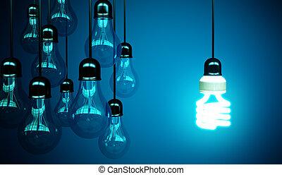 bleu, lightbulbs