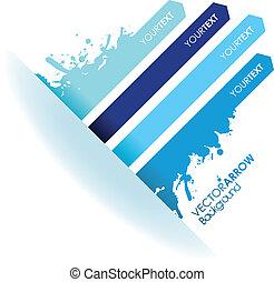 bleu, ligne, éclaboussure, flèche
