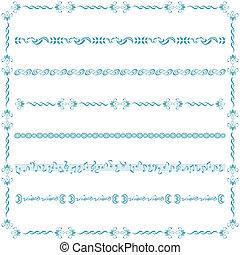 bleu, ligne, ensemble, éléments