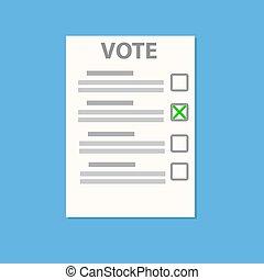 bleu, liste, illustration, papier, vecteur, vote, ombre, (check), stockage