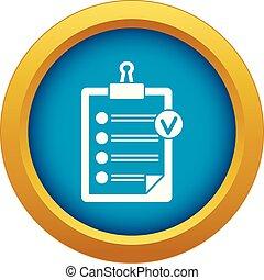 bleu, liste, isolé, vecteur, chèque, icône