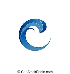 bleu, logo, c, lettre, vague