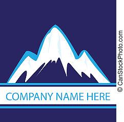 bleu, logo, marine, montagnes