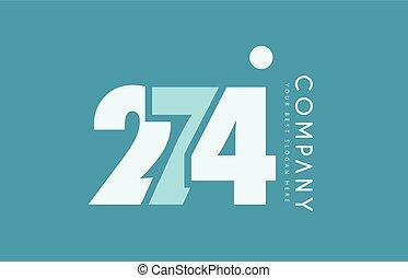 bleu, logo, nombre, 274, cyan, conception, blanc, icône