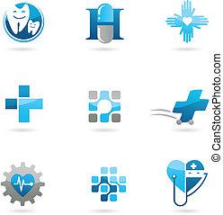 bleu, logos, icônes, soin, médecine