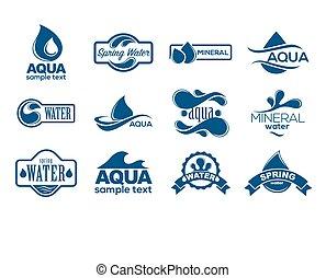 bleu, logos, minéral, icônes, collection., set., eau, étiquette, water.