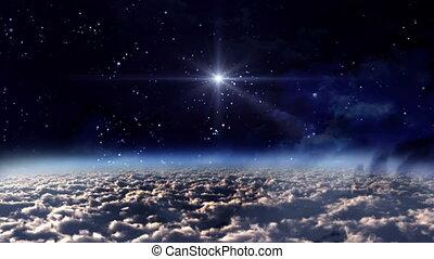 bleu, lueur, étoile, espace, nuit