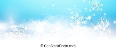 bleu, lumière hiver, résumé, fond, panorama, bannière, starlets, flocons neige