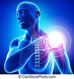 bleu, mâle, épaule, douleur