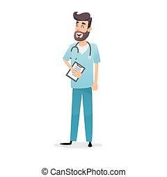 bleu, médecin, concept, pharmacist., stéthoscope, cardiologue, docteur médical, professionnel, amical, ou, pédiatre, conception, uniform., prospectus, diagnosis., dessin animé, heureux, medic, affiches, cartes postales