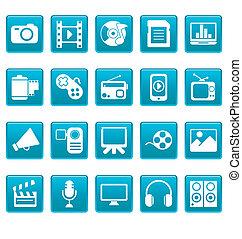 bleu, média, carrés, icônes