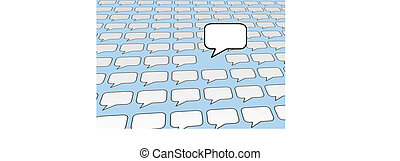 bleu, média, sur, parole, social, pourparlers, voix, bulle