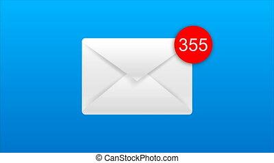 bleu, métaphore, auto, enveloppe, nombre, rouges, animation, noir, masage, fond, revenu, alpha, cercle, dénombrement, email, canal, 4k