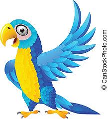 bleu, macaw, dessin animé
