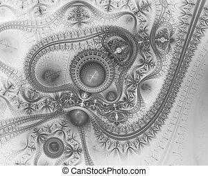 bleu, machine, machine., steampunk., temps, créatif, graphique, mécanicien, numérique, typon, engine., fractal, futuriste
