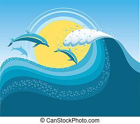 bleu, maille, mer, dauphins, wave., seascape., vecteur, dessins animés