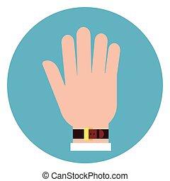 bleu, main, paume, fond, rond, icône