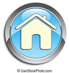 bleu, maison, bouton