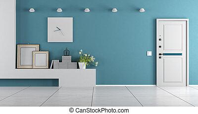 bleu, maison, entrée