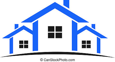 bleu, maisons, logo