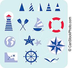 bleu, marin, nautique, icônes