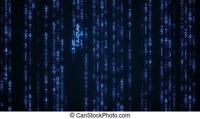 bleu, matrice, seamless, animation, rain., numérique, boucle