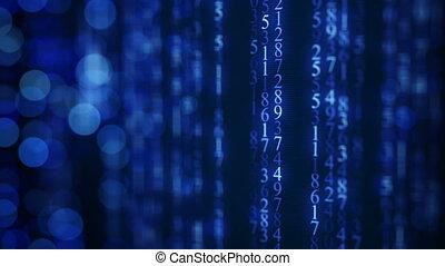 bleu, matrice, seamless, pluie, screen., animation, numérique, boucle