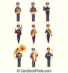 bleu, membres, armée, ensemble, instruments, illustration, uniforme, bande, vecteur, fond, militaire, soldats, blanc, jouer, musical