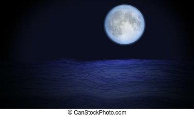 bleu, mer, lune